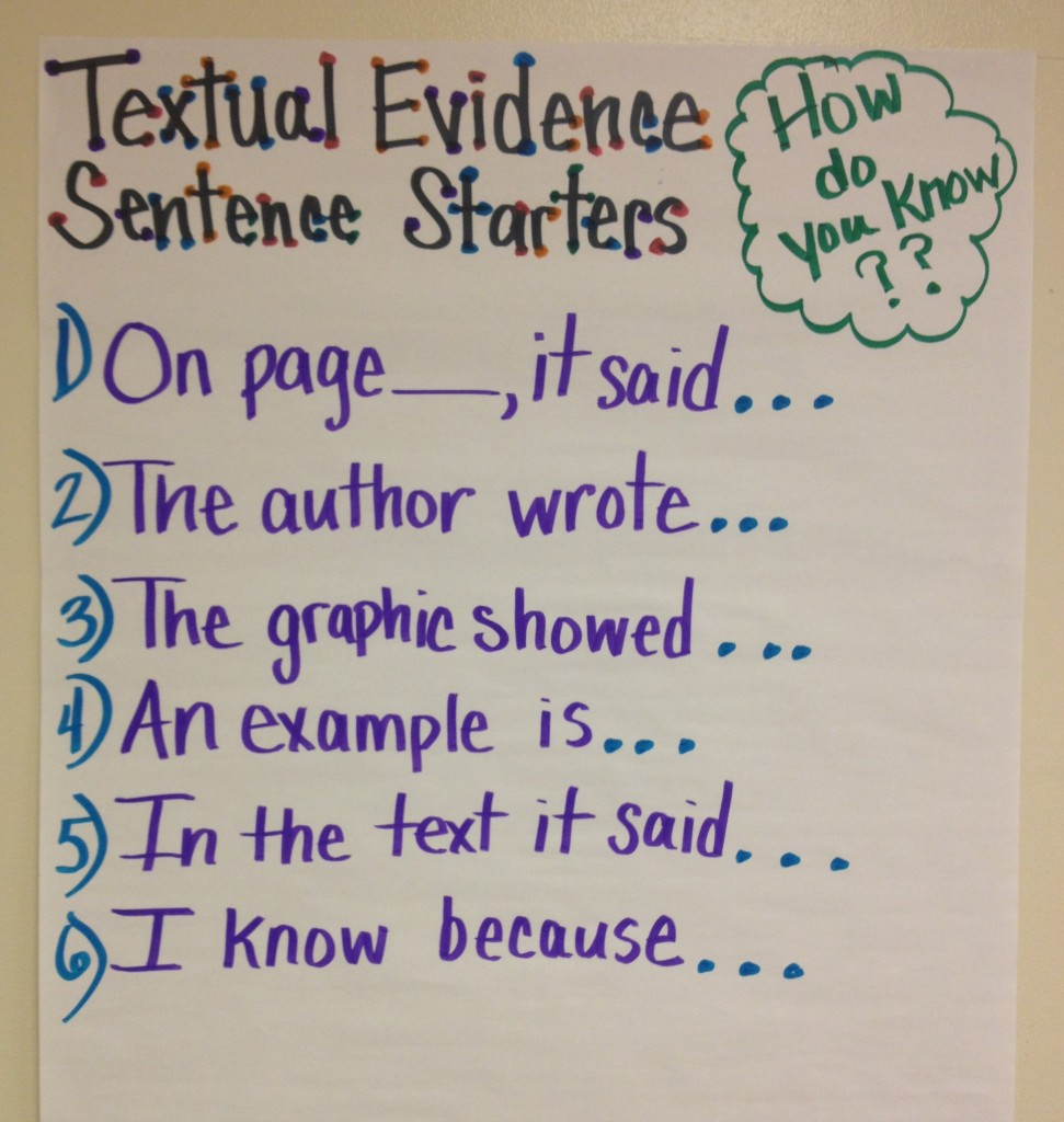 sentence starters for explaining evidence